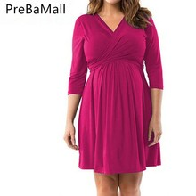 все цены на Plus Size Maternity Dresses Clothing for Pregnant Woman V-neck Loose Maternity Dress Elastic Waist Pregnancy Clothing C0097 онлайн
