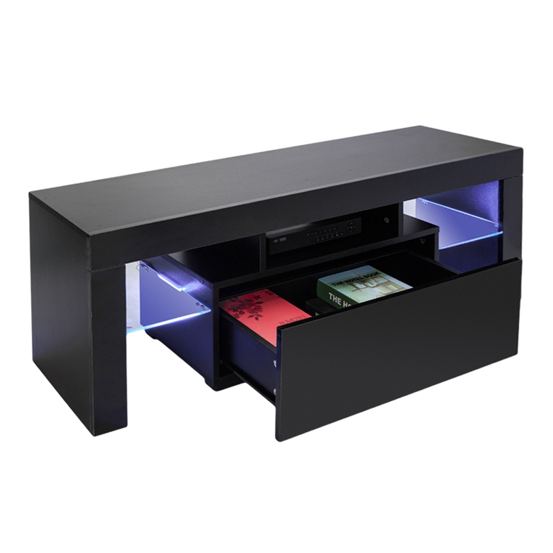 LED TV Stand Modern LED Living Room Furniture Black TV Cabinets with Drawer Dropshipping gloss high led tv stand modern led living room furniture tv cabinet