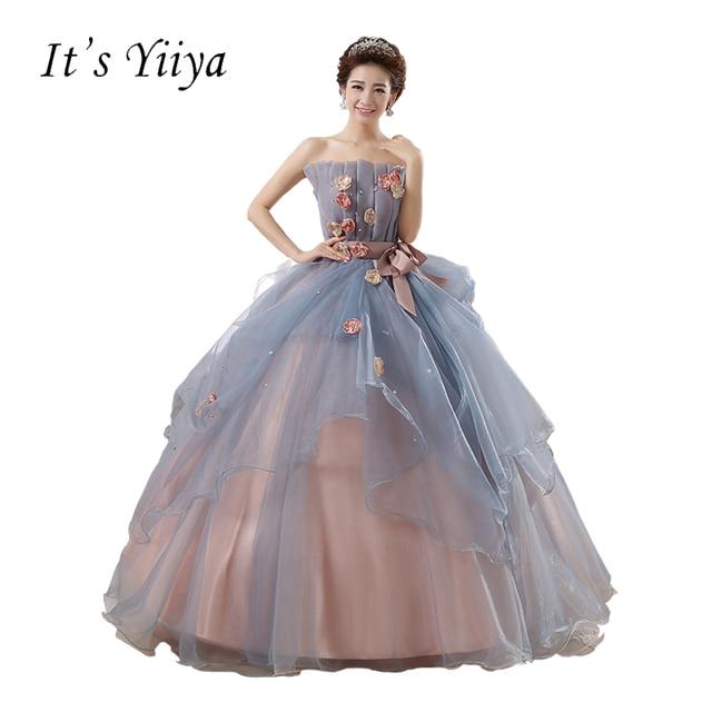 Free Shipping Gray Flowers Strapless Wedding Dresses Bow Waist Floor Length Bride  Gowns Vestidos De Novia Casamento YQD002 91a0fde20f78