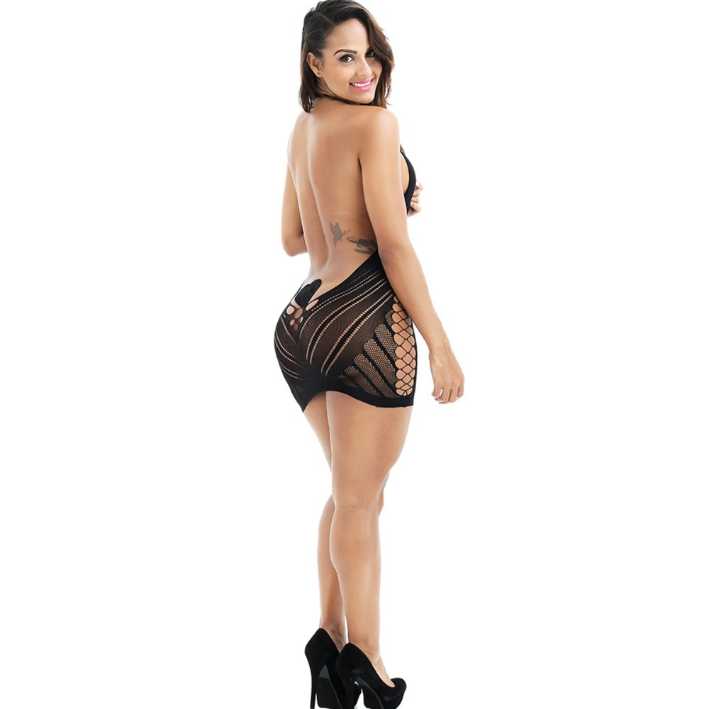 d856f2191 (SUPER DEAL) New Exotic Apparel Women Halter Hollow-out Transparent  Backless Sexy Dress Lingerie Net Mini Dresses Red Black Rose Red