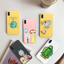 GYKZ Cartoon Rick Morty Pickle Phone Case For iPhone 6 6s XS MAX XR X 7 8 Plus Soft Silicone Matte Back Cover Capa