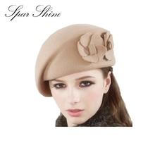 Autumn and winter wool fedoras shaping double flower stewardess cap beret women's hat