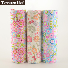 Teramila 3 PCS/lot 40cmx50cm 100% Cotton Fabric Flower Fat Quarter For Sewing Clothes Bedding Quilting Patchwork Crafts(China)