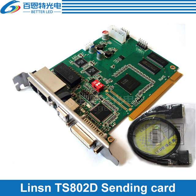 Linsn TS802D نظام التحكم إرسال بطاقة كبيرة كامل اللون LED عرض بطاقة وحدة التحكم LED
