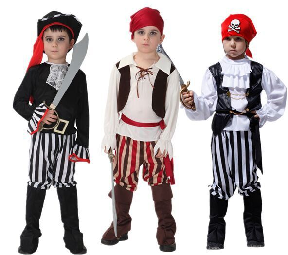 Children Piracy Costumes CosplayDance Boys And Girls Pirates Caribbean Captain Clothes Set Costume Halloween Pirate kids