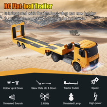 Remote Control Truck Flatbed Semi Trailer Electronics Hobby Kids Toy Yellow Engineering  Constructable Rc Truck Big size realts trumpeter 00211 1 35 maz 537g mid type w semi trailer