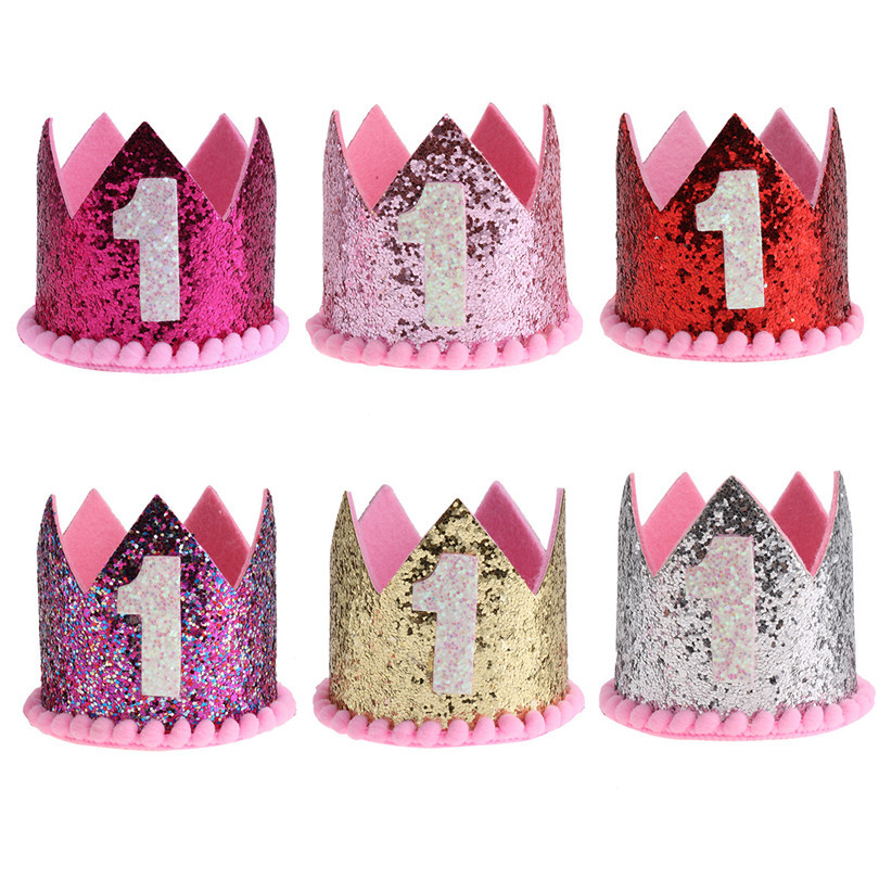 IEFiEL Baby Girl Boy Kids First Birthday Hat Headband Crown 1 Year Old Princess Hairband Photo Props Shower Party Wear In Hats Caps From Mother