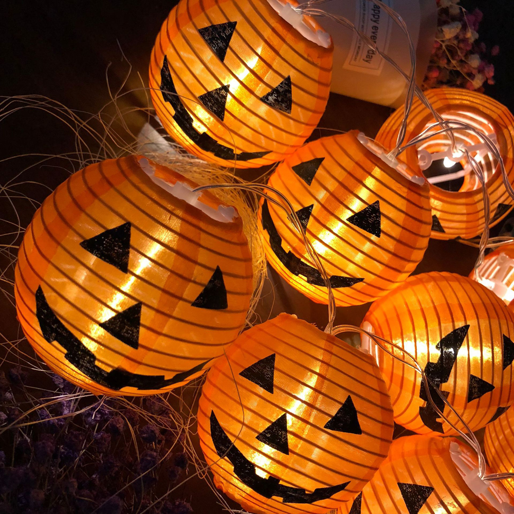 1 Set 10 LEDs Halloween Pumpkin String Lights 3D Halloween Party Home DIY Decor Props 1.2M  Warm White Battery Operated Light (7)