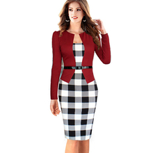 2017 Women Summer Elegant Belted Tartan Lace Patchwork Tunic Wear to Work Business Casual Pencil Wiggle