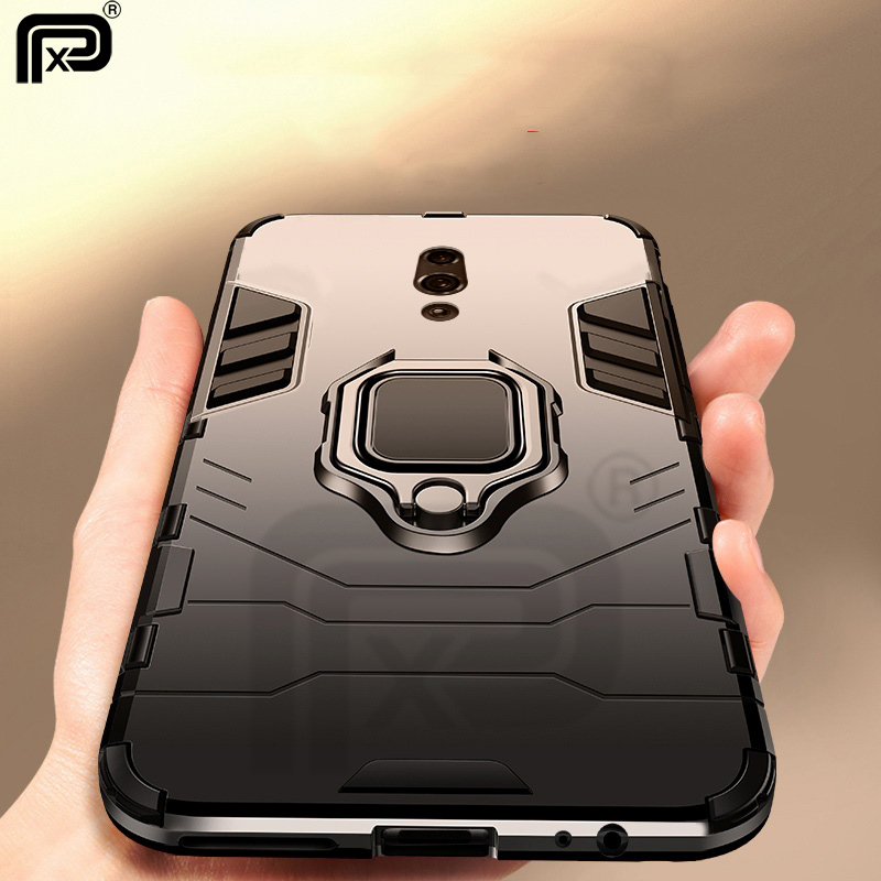 For OPPO Reno Case Ring Holder Armor Bumper Back cover For OPPO Reno Phone Case Hard PC and Soft Silicone Anti fall Fundas