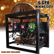 Leory Miner Frame Bracket 6 GPU Miner Case Aluminum Mining Rig Case Frame w/3xFan 6x Graphic Cards Slots Position 50x55x35cm