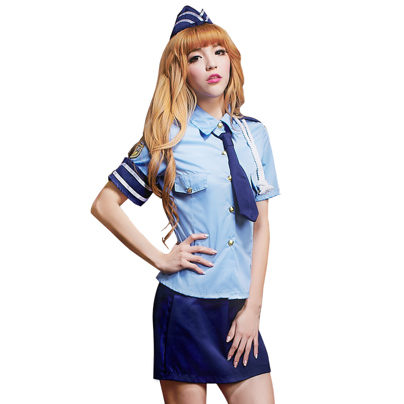 Girl policewoman uniform cosplay suit nightclub sexy girl uniform flight attendant maid work costume women officer clothes
