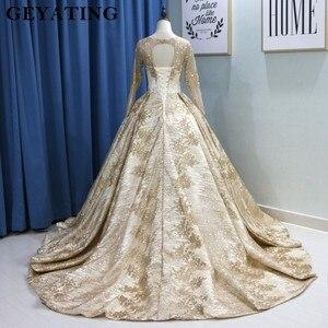 Image 2 - Robe de mariée princesse en paillettes scintillantes dorées, Corset, manches longues, Corset, avec voiles de 3M, Dubai 2020