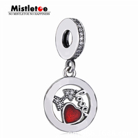 Mistletoe Authentic 925 Sterling Silver Love Heart Charm Dangle Fit European Bracelet Jewelry