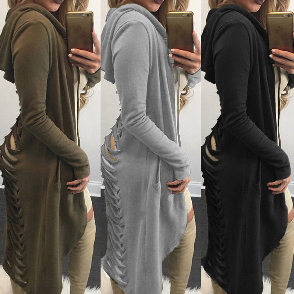 Gothic Women Ladies Cut Out Cardigan   Trench   Coat Long Ripped Back Hooded Hoodie Coat   Trench