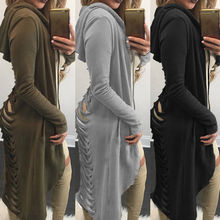 Gothic Women Ladies Cut Out Cardigan Trench Coat Long Ripped Back Hooded Hoodie