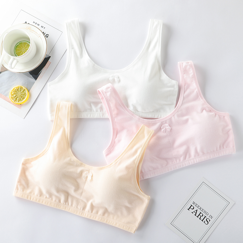 Young girl teen underwear training bra thin strap with cup pad kids vest top  UQ