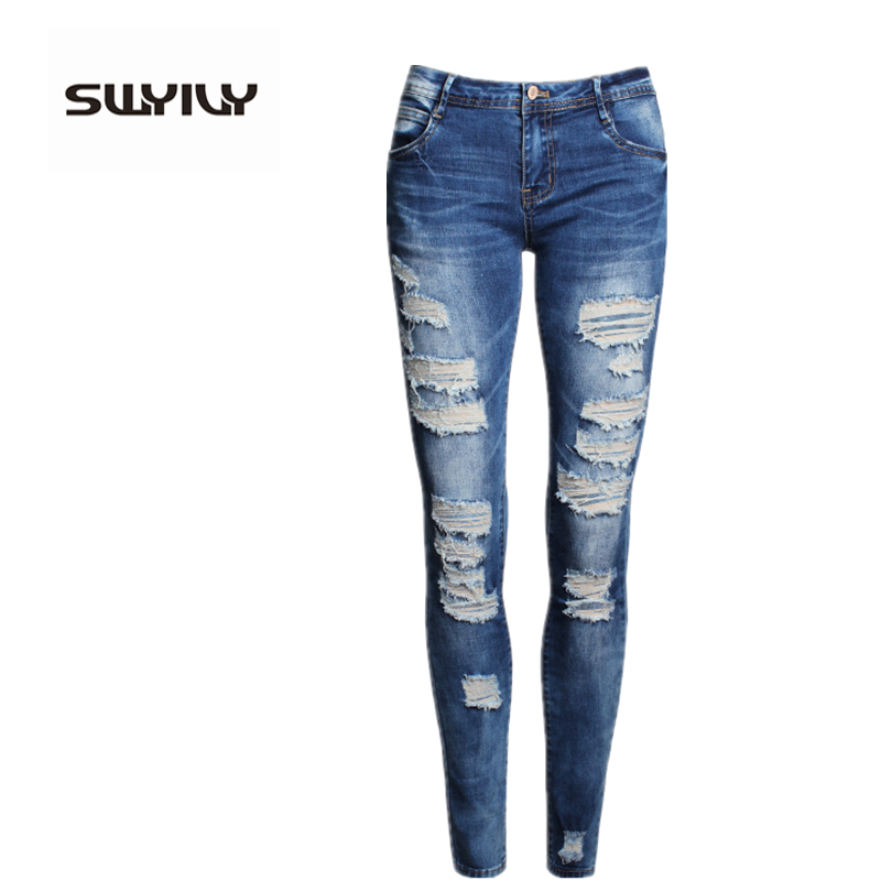 Jeans With Holes Slim Pencil Pants Women Jeans 2017 New Spring Summer European US Style Denim Pants Cotton Material Jeans Woman jeans woman new real 2017 spring and summer european american style fashion lace pants denim trousers pencil feet free shipping