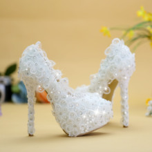 Women Pumps Wedding Shoes Lace White Crystal Bridal Shoes Bridesmaid Shoes High Heels Banquet Formal Dress Shoes  Free Shipping