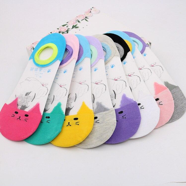10 Pairs/ Lot Cotton  Boat Socks Women Beautiful  Cat Pattern Character of Silicone Anti Slip Socks Invisible Boat Socks