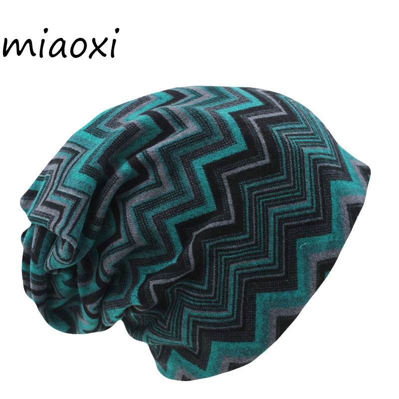 Miaoxi Hot Sell 8 Colors Vintage Striped Women Warm Beanie Top Fashion Lay Casual Winter Hat Hip-Hop Cap Gorro Girl Touca Sale