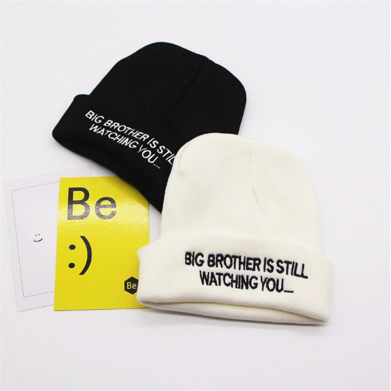 BIG BROTHER IS STILL WATCHING YOU Letter embroidery No brim hat Hip hop wool hat unisex fashion Winter thick hat cap