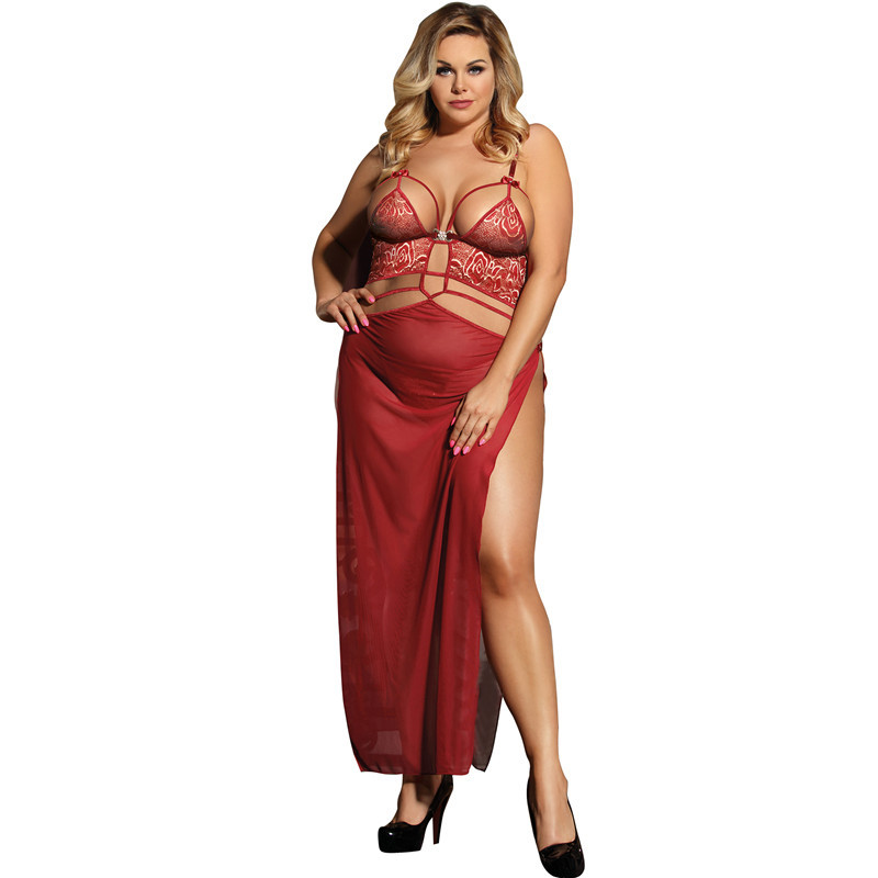 Sexy Dress Lingery Transparent Belle Decolette Long Womens Nightgowns Hollow Erotic Dress V Neck Lingerie Porno Big Size RW80205