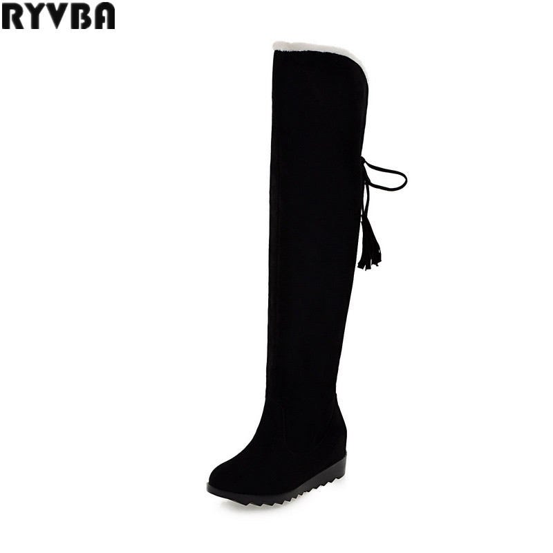 RYVBA woman over the knee snow boots fashion nubuck thigh high boots winter boots women womens female russia wedges heels shoes ryvba woman knee high snow boots fashion thick plush warm thigh high boots winter boots for women shoes womens female sexy flats