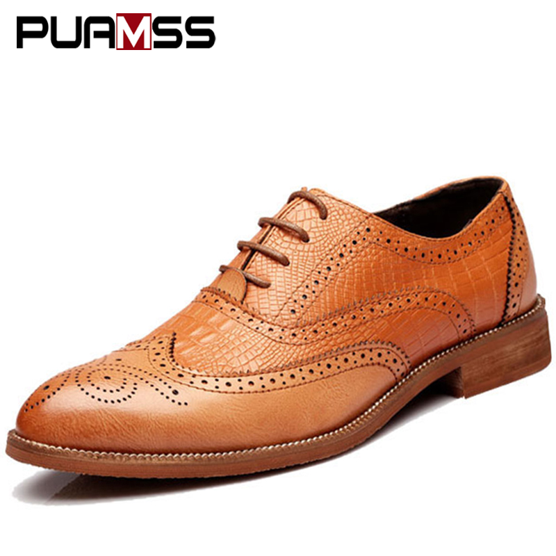 2018 New Men Shoes Handmade British Style Brogue Paty Wedding Shoes Retro Carved Leather Flats Men Oxfords Formal Shoes zxq brand handmade new winter men oxford shoes solid color high quality retro british style men flats leather shoes