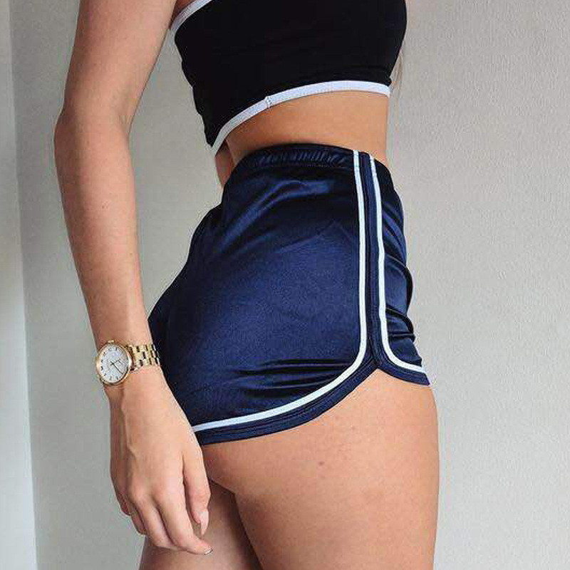 5 Color Quality Side Stripes Fitness Shorts Women Silk Skinny Summer New Sexy Female Hot Short Body Sweat Shorts Drop Shipping