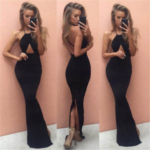 JENYAGE Women Summer Sexy Party Floor Length Long Black c807dcede1f0