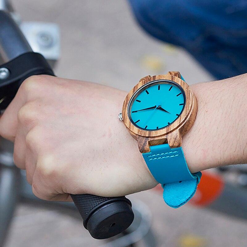 BOBO VOGEL Klassische Zebra Holz Uhr Für Männer Frauen Indigo Blau Design Quarzuhr Zwei Optiom Fall Größe 33mm und 45mm
