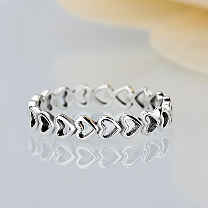 HOMOD 2019 New Silver color Forever Love Heart Finger Ring Original Brand Women Jewelry Gift
