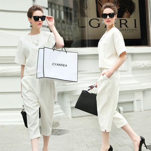Nova primavera verão 2016 Casual senhoras Pant ternos mulheres branco calças ternos define elegante uniforme escritório