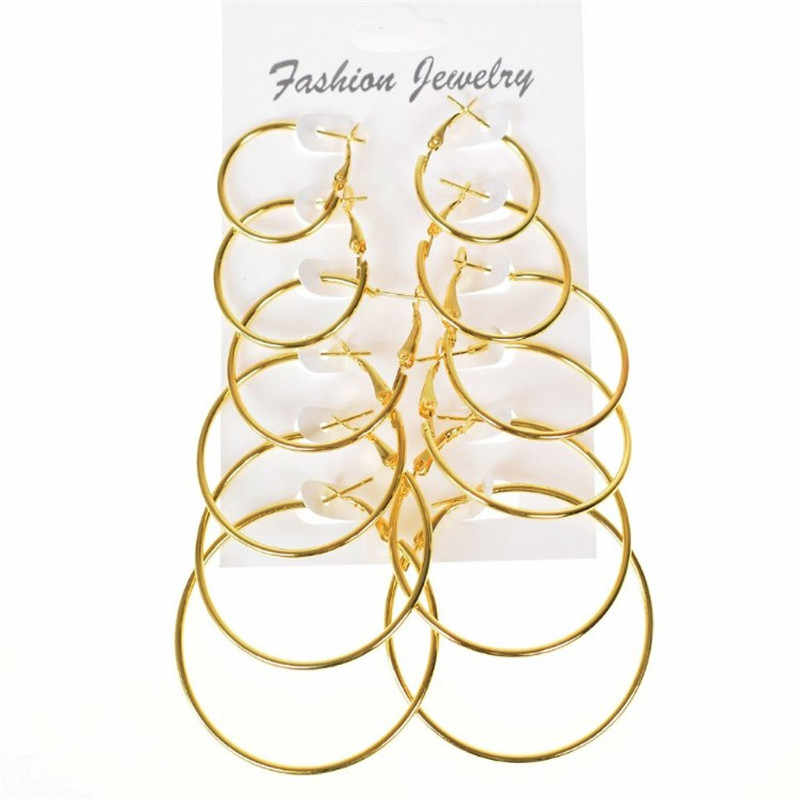 6 Pairs/Set New  Fashion Exaggerated  Gold Silver Small Big Circle Hoop Sexy Earrings for Women Steampunk Round Earring Sets