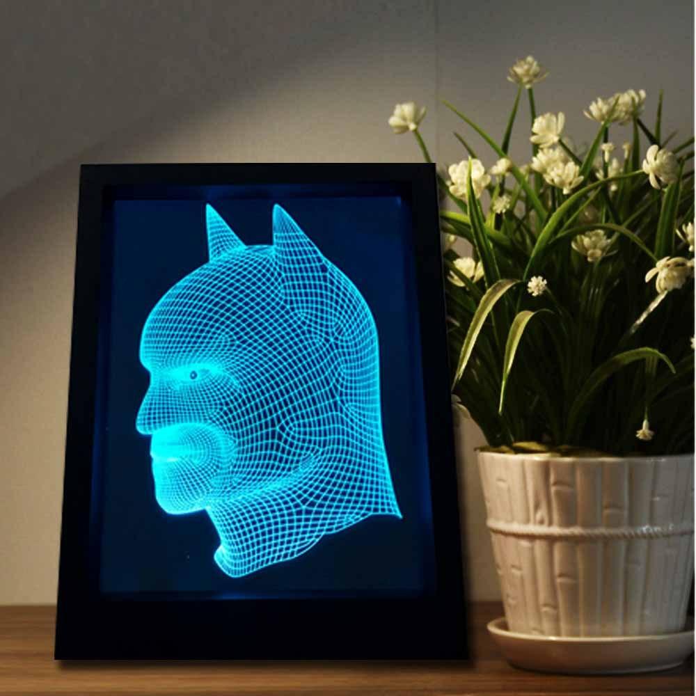 3D Photo Frame Lamp Batman Colorful Wall lamp Night Light 3D desk Lamp Acrylic Footpath bedroom light LED Illusion Light