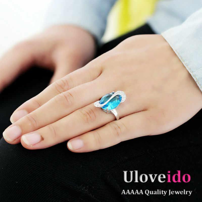 Uloveido 49%นะเงินเครื่องประดับชุดแต่งงานสีฟ้าหินเพชรCZเครื่องประดับคริสตัลแอฟริกันชุดแหวนจี้ต่างหูT299