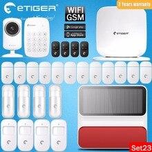 Etiger eTiger Solar Sirena de Destello WiFi/GSM Más Reciente Intruder Antirrobo sistema de alarma gsm sms de alarma y Cámara IP + 12 sensor de la puerta