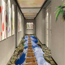 3D Wooden Bridge Waterproof Self-adhesive Wallpaper