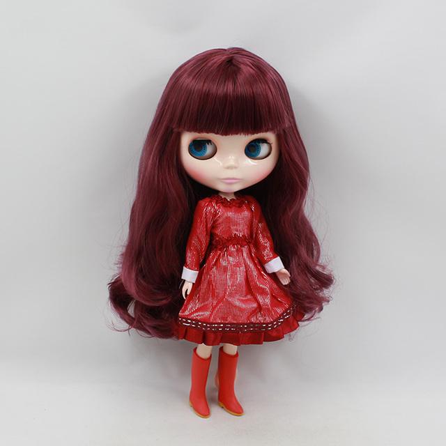 Factory Neo Blythe Doll Wine Red Hair Regular Body 30cm
