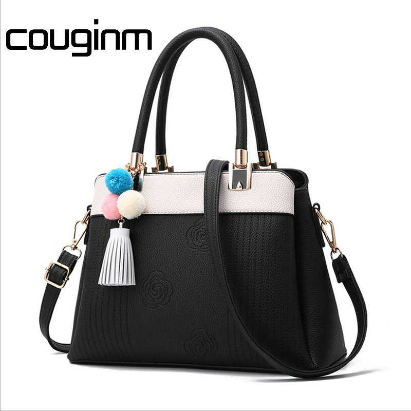 цены COUGINM New Women Bag PU Leather Quality Handbag Fashion Casual Tote Lady Shoulder Bags Female Brand Tassel Messenger Bags