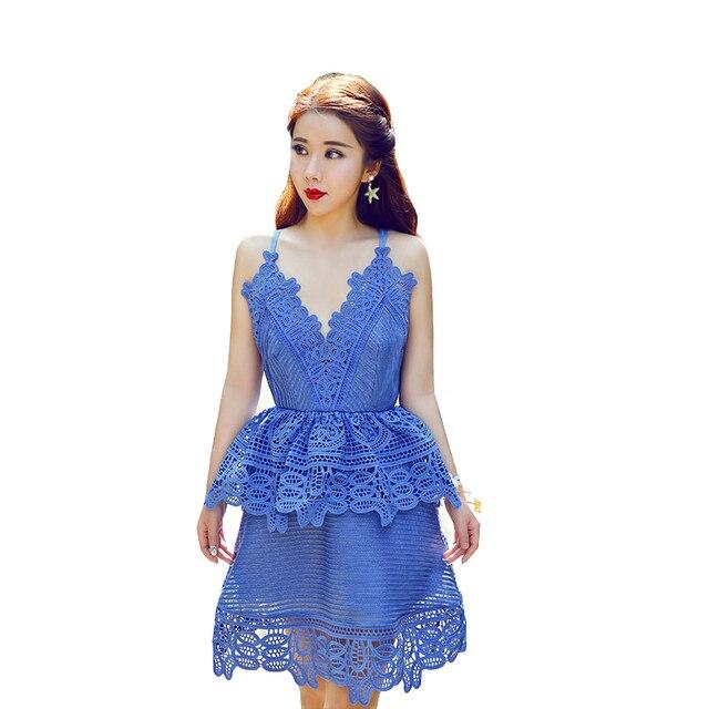 New Arrive Runway Lace Guipure Panelled Dress Deep Plunge V Neck Crochet Flower High Waist Strap Mini Dress Vestido De Renda