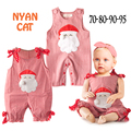 Baby Christmas outfits infant boy girls Santa Clause sleeveless plaid  rompers toddler Xmas Father red jumpsuit