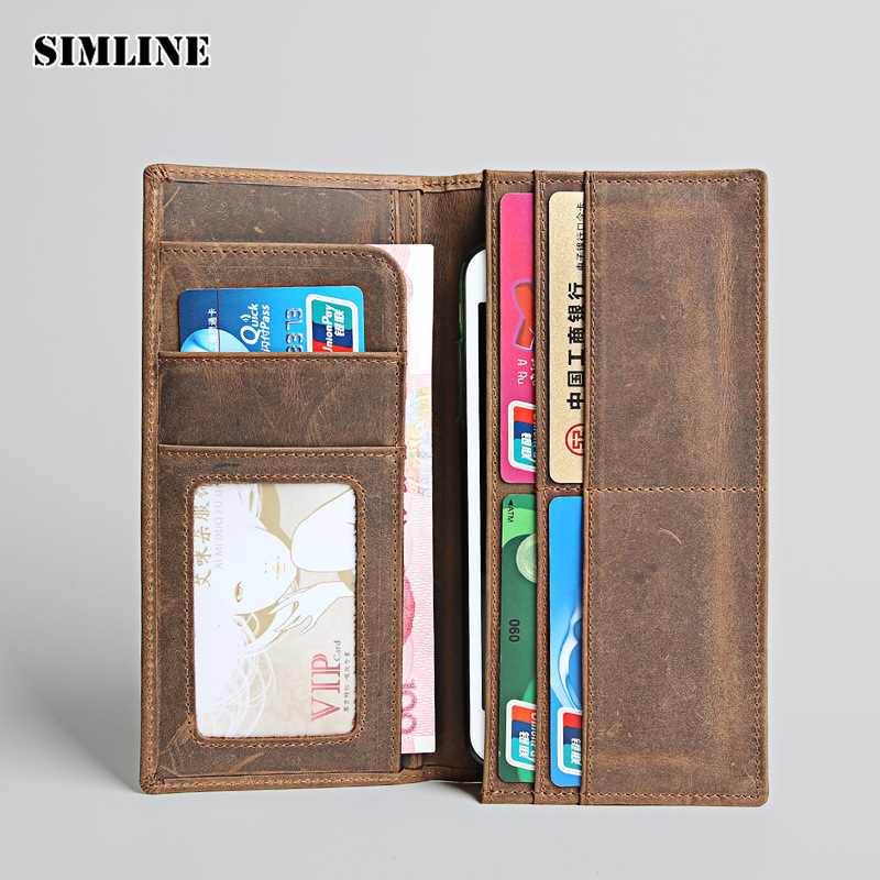SIMLINE Vintage Genuine Crazy Horse Leather Cowhide Men Mens Long Wallet Wallets Purse Card Holder Zipper Coin Pocket Carteira high quality men genuine leather organizer wallet vintage cowhide clasp card holder coin purse vintage carteira masculina 1011