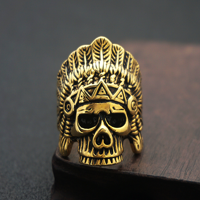 Indian Chief Skull Ring Gold Stainless Steel Rings Native American Ring Men's Gothic Punk Rock Biker Size 7 - 13