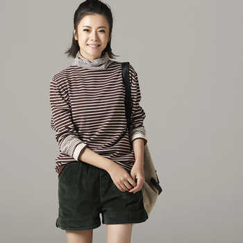 Z8119 The big yards striped turtleneck joker loose render knit a female