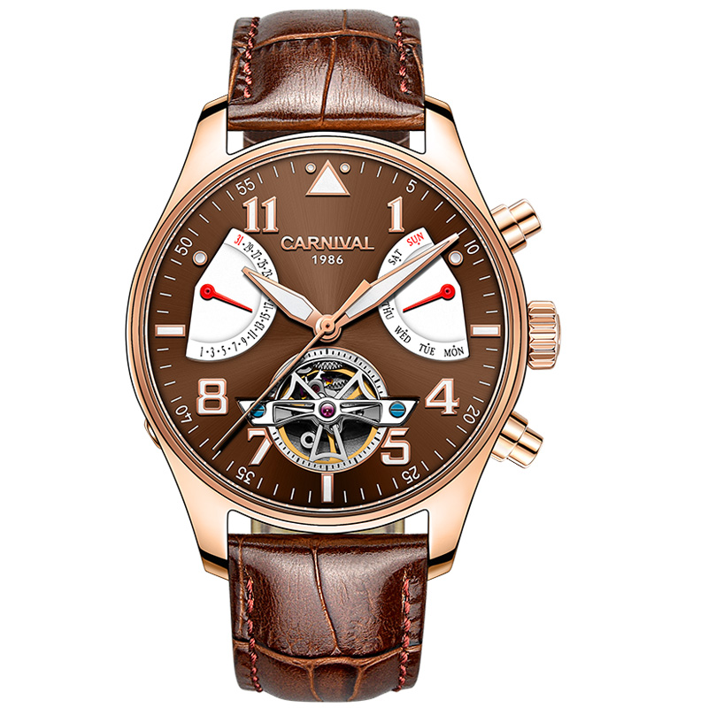 лучшая цена Carnival Watch Men tourbillon Automatic Mechanical Luminous Stainless Steel Waterproof multifunction Brown Leather Watches