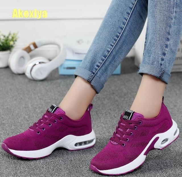 Akexiya Kadın Siyah Ayakkabı Yaz Moda Nefes Hava Örgü Lace Up rahat ayakkabılar Bayanlar Yumuşak Düz Konfor yürüyüş ayakkabısı