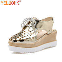 35 43 Patent Leather High Heels Shoes Women Summer Shoes Wedges Shoes Pumps High Quality