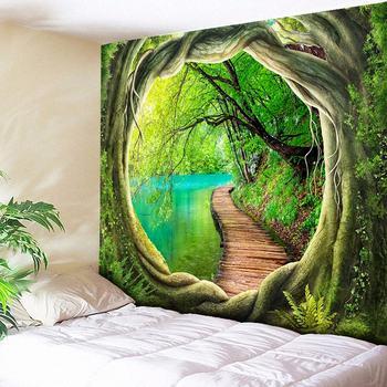 Wyczyść rzeka ścieżka drewna drukuj gobelin ścienny psychodeliczny drzewo otwór Home Decor ściany wiszące do salonu sypialnia Boho gobeliny